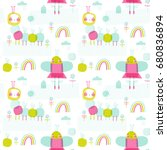 seamless vector pattern  cute...   Shutterstock .eps vector #680836894