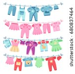 baby clothes drying on... | Shutterstock .eps vector #680837464