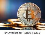 golden bitcoins. new virtual... | Shutterstock . vector #680841319