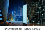 Empty screen billboard with intelligent communication design network of things .Modern city skyline background .