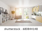 modern kitchen interior. 3d... | Shutterstock . vector #680844148