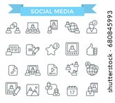 social media icons  thin line... | Shutterstock .eps vector #680845993
