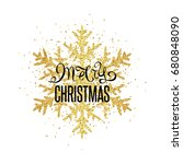 christmas golden snowflake with ... | Shutterstock .eps vector #680848090
