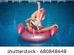 beautiful blonde swimming in...   Shutterstock . vector #680848648