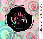 summer sale background with... | Shutterstock . vector #680849599