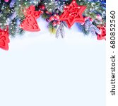 christmas background with... | Shutterstock . vector #680852560
