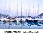 yachts parking in harbor at... | Shutterstock . vector #680852668