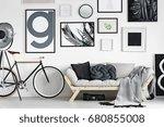vintage bike by wooden sofa in... | Shutterstock . vector #680855008