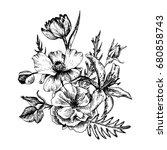 vintage vector floral... | Shutterstock .eps vector #680858743