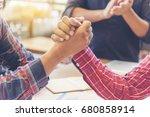 team business partners giving... | Shutterstock . vector #680858914