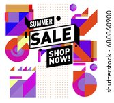 summer sale geometric style web ... | Shutterstock .eps vector #680860900