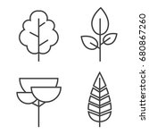 set of vector line trees.... | Shutterstock .eps vector #680867260