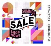 summer sale geometric style web ... | Shutterstock .eps vector #680874193
