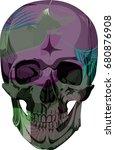 vector human skull with... | Shutterstock .eps vector #680876908