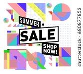 summer sale geometric style web ... | Shutterstock .eps vector #680877853