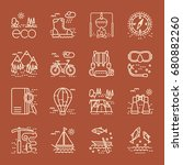 eco tourism icons set on brawn... | Shutterstock .eps vector #680882260
