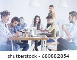colleagues of different... | Shutterstock . vector #680882854