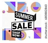 summer sale geometric style web ... | Shutterstock .eps vector #680882860