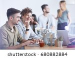 group of colleagues at a coffee ... | Shutterstock . vector #680882884