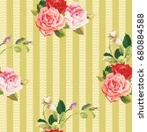 seamless floral pattern three... | Shutterstock .eps vector #680884588