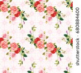 seamless floral pattern three... | Shutterstock .eps vector #680884600