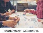 engineer team meeting and... | Shutterstock . vector #680886046