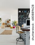 modern friendly office with... | Shutterstock . vector #680889628