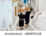 in olympos  on karpathos island ... | Shutterstock . vector #680890168