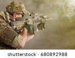 private military contractor... | Shutterstock . vector #680892988