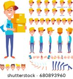 front  side  back view animated ... | Shutterstock .eps vector #680893960