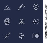 set of 9 picnic outline icons...