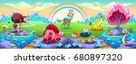 fantasy animals in a landscape... | Shutterstock .eps vector #680897320
