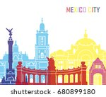 mexico skyline pop in editable... | Shutterstock .eps vector #680899180
