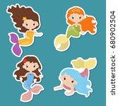 set of cute girl mermaids... | Shutterstock .eps vector #680902504