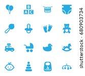 set of 16 child icons set... | Shutterstock .eps vector #680903734