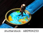 aged man and world map travel... | Shutterstock . vector #680904253