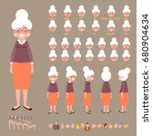 Front, side, back view animated character. Elderly woman character creation set with various views, hairstyles, face emotions, poses and gestures. Cartoon style, flat vector illustration.  | Shutterstock vector #680904634