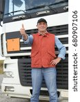 middle aged truck driver in... | Shutterstock . vector #680907106