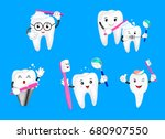 set of cute cartoon tooth... | Shutterstock .eps vector #680907550