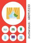 flat icon frame set of balcony  ... | Shutterstock .eps vector #680915233