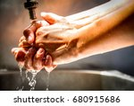 wash your hands with water for... | Shutterstock . vector #680915686