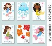 set of beautiful birthday... | Shutterstock .eps vector #680919580