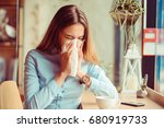 Flu. Young Woman Got Nose...