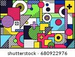 memphis mega set background | Shutterstock .eps vector #680922976