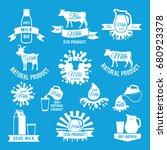 labels set of fresh milk.... | Shutterstock .eps vector #680923378