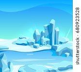 frozen landscape with ice rocks.... | Shutterstock .eps vector #680923528