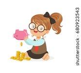 cute little girl businesswoman... | Shutterstock .eps vector #680923543