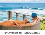 young surfer relaxing in lounge ... | Shutterstock . vector #680923813