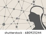 silhouette of a man's head.... | Shutterstock . vector #680925244