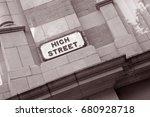 high street sign on brick wall... | Shutterstock . vector #680928718